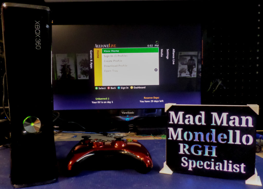 Xbox 360 Slim RGH console for Curtis Wood| by Tony Mondello