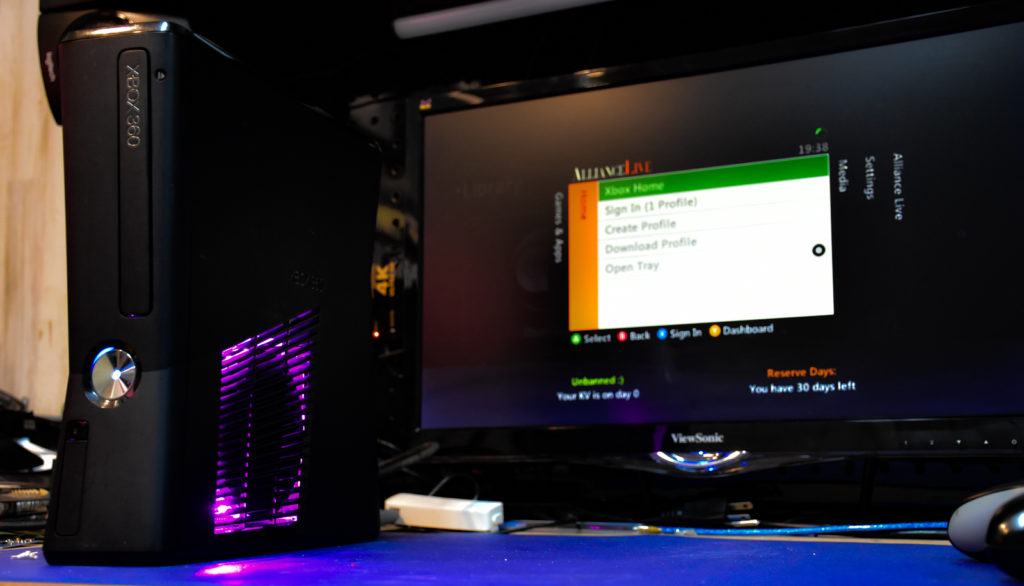 Xbox 360 RGH Slim Console with Custom Modded Rol